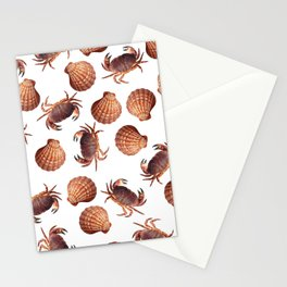 scallop Crab pattern design white Stationery Cards