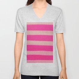 Modern Abstract Magenta Pink Stripes Brushstrokes Unisex V-Neck