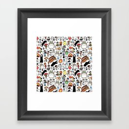 Kawaii Ghibli Doodle Framed Art Print
