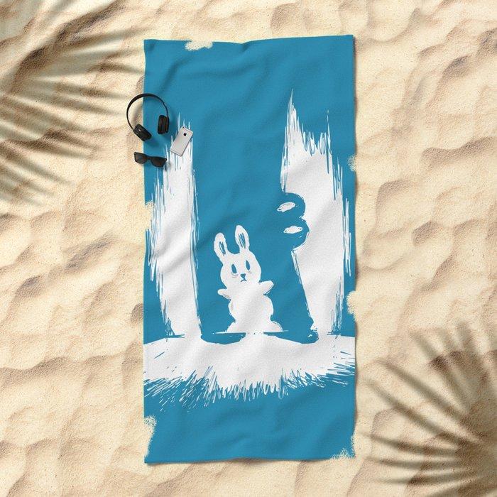 cornered! (bunny and crocodile) Beach Towel