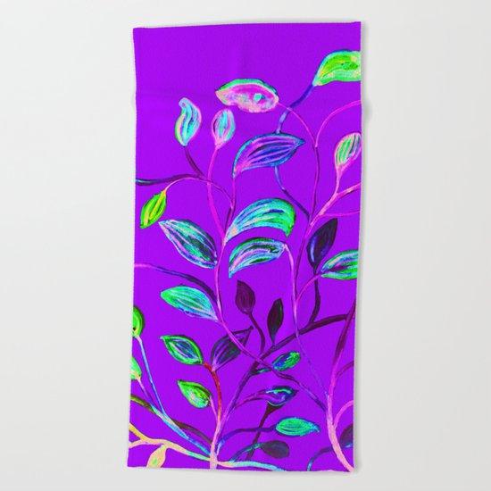 Neon Purple Pop Leaves Beach Towel