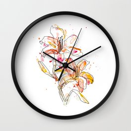 Day Lilies - Watercolor and ink Wall Clock