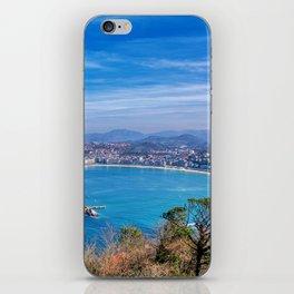 La Concha Bay seen from Igeldo Mount. iPhone Skin