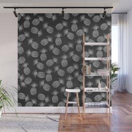 Tropical modern black gray pineapple fruit pattern Wall Mural