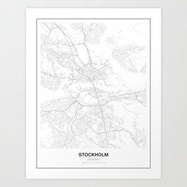 Stockholm, Sweden Minimalist Map Art Print