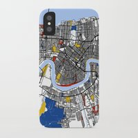 new orleans iPhone & iPod Cases featuring New Orleans by Mondrian Maps