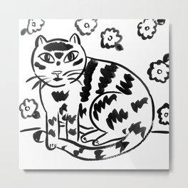 Wallflower Cat Metal Print
