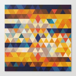 Geometric Triangle - Ethnic Inspired Pattern - Orange, Blue Canvas Print