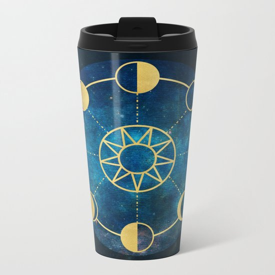Gold Moon Phases Sun Stars Night Sky Navy Blue Metal Travel Mug