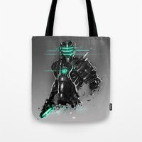 suit Tote Bags featuring Omega Suit by Benedick Bana