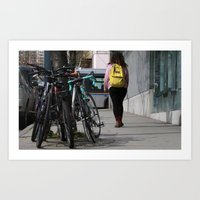 backpack Art Prints featuring Bikes and backpack by RMK Creative