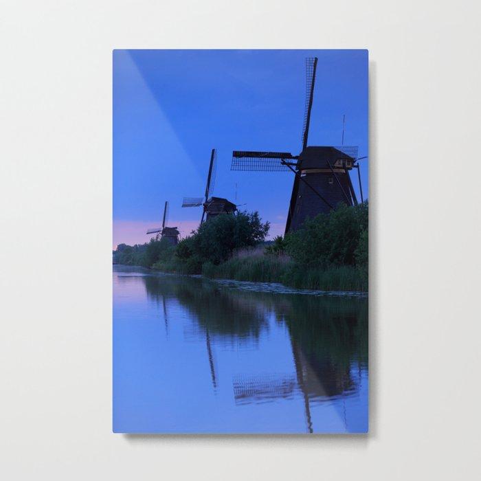 Blue Evening Near The Windmils Metal Print