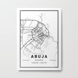 Abuja Light City Map Metal Print