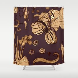 Pirate world - Fishs and plants - browns, beige, pale yellow Shower Curtain