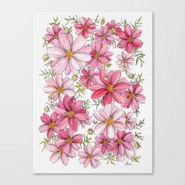 Pink Spring Flower Pattern Canvas Print
