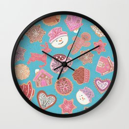 Christmas gingerbread cookies with icing Wall Clock