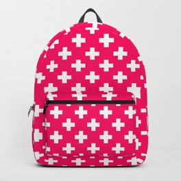 White Crosses on Hot Neon Pink Backpack