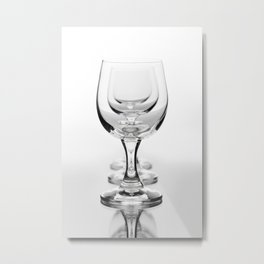 Three empty wine glasses in a row Metal Print