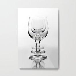 Three empty wine glasses in a row Metal Print