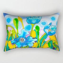 Blue Poppies 1 of Belize Rectangular Pillow