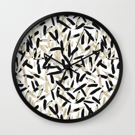 Black and White Feather Repeating Pattern Wall Clock