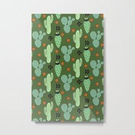 Cute Cactus & Cacti Pattern Metal Print