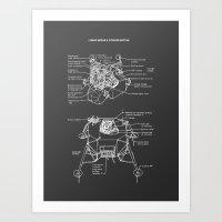 Lunar Module Exploded View Art Print