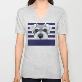 Schnauzer Grey&white, Dog illustration original painting print Unisex V-Neck