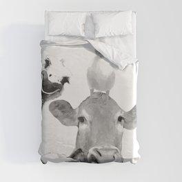Black and White Farm Animal Friends Duvet Cover