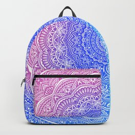 Beautiful colorful rainbow mandala Sophisticated ornament pink and violet cyan Backpack