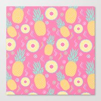 pinapple Canvas Prints featuring Pink Pinapple by KattyB