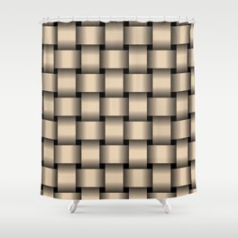 Large Bisque Brown Weave Shower Curtain