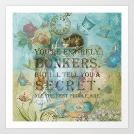 Wonderland - Bonkers Quote - Vintage Style Art Print