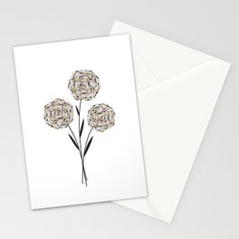 Three Tan and Black Stationery Cards