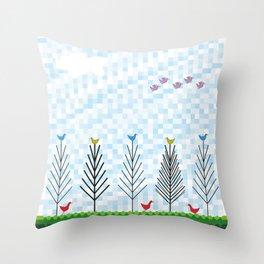 Treetop Birds Throw Pillow