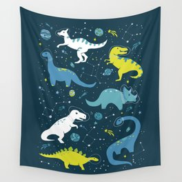 Space Dinosaurs in Bright Green and Blue Wall Tapestry