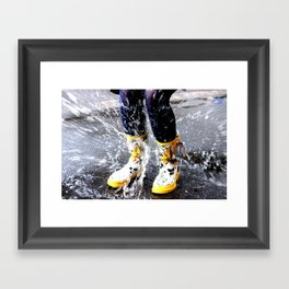 Gumboots on a Rainy Day Framed Art Print