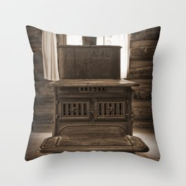 The Stove In The Cabin Throw Pillow