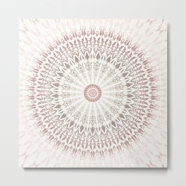 Cream Rose Mandala Metal Print