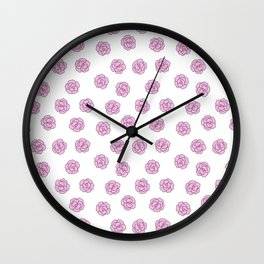 Girly pink white modern flowers illustration Wall Clock