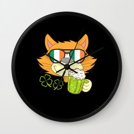 Happy St. Patrick's Cat Claws Day Wall Clock