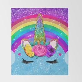 Rainbow Sparkle Unicorn Throw Blanket