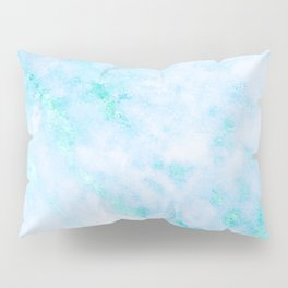 Blue Marble - Shimmery Turquoise Blue Sea Green Marble Metallic Pillow Sham