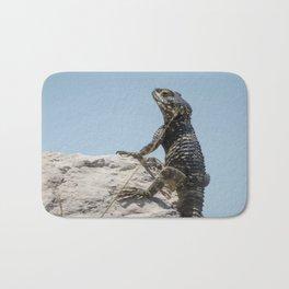 Lizard Sunbathing On A Rock Vector Bath Mat
