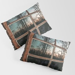 Lumberjack Cabin Window // Grainy Reflection of the Sunset and Trees Pillow Sham