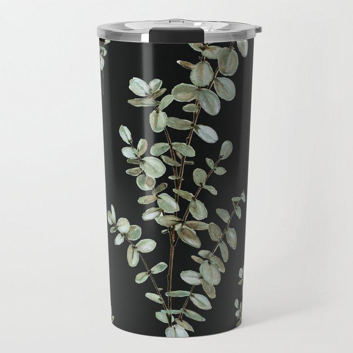 Baby Blue Eucalyptus Watercolor Painting on Charcoal Travel Mug