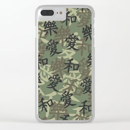 Kanji Camo Love Peace Happiness JUNGLE Clear iPhone Case