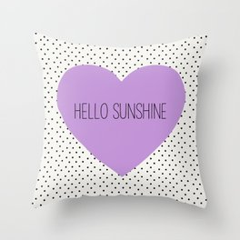 Hello Sunshine Purple Heart and dots Throw Pillow