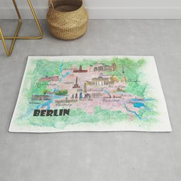 Berlin Germany Illustrated Map with Main Roads Landmarks and Highlights Rug