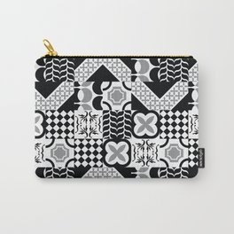 Black & White Mixed Square Tiles Patterns Carry-All Pouch